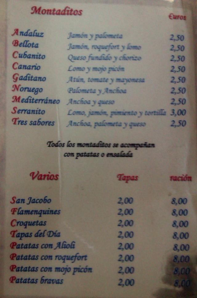 Carta del Restaurante Mirasierra