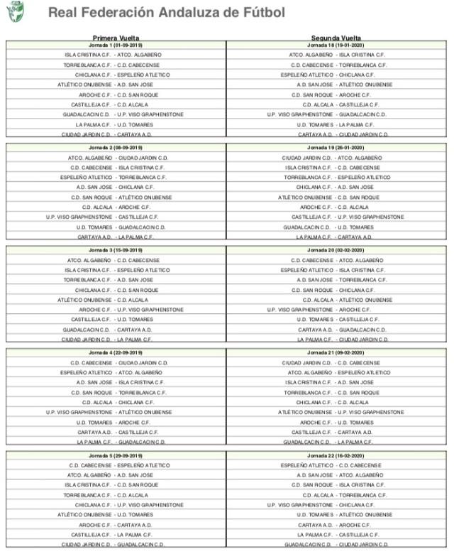 Calendario del Grupo I de División de Honor de Andalucía (1)