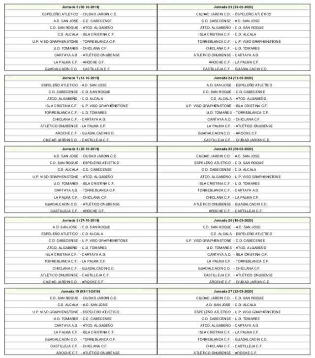 Calendario del Grupo I de División de Honor de Andalucía (2)