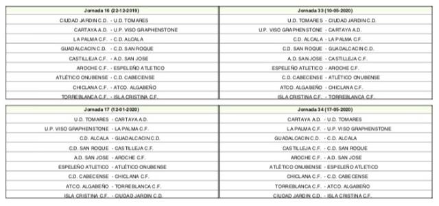 Calendario del Grupo I de División de Honor de Andalucía (4)